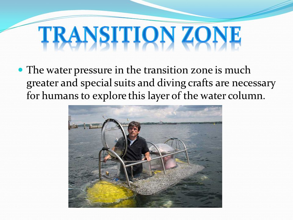 The water pressure in the transition zone is much greater and special suits and diving crafts are necessary for humans to explore this layer of the wa