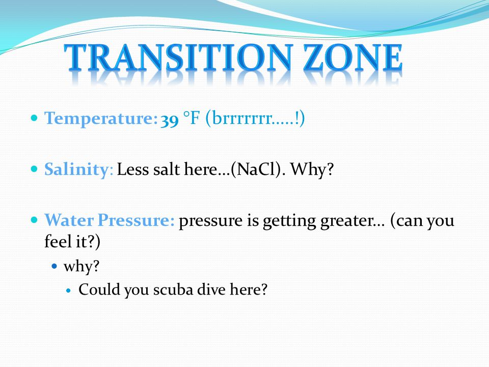 Temperature: 39 °F (brrrrrrr…..!) Salinity: Less salt here…(NaCl). Why? Water Pressure: pressure is getting greater… (can you feel it?) why? Could you