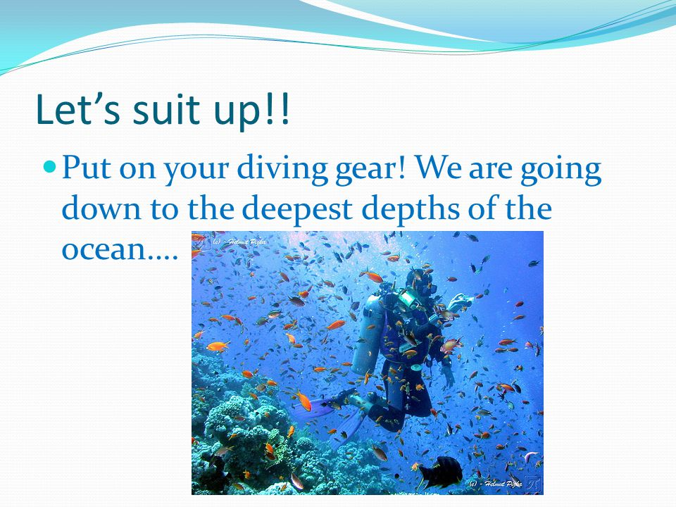 Let's suit up!! Put on your diving gear! We are going down to the deepest depths of the ocean….