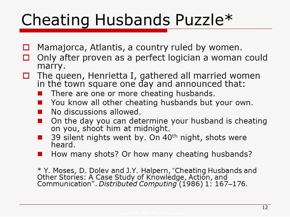 Copyright © 2008 All rights reserved 12 Cheating Husbands Puzzle*  Mamajorca, Atlantis, a country ruled by women.