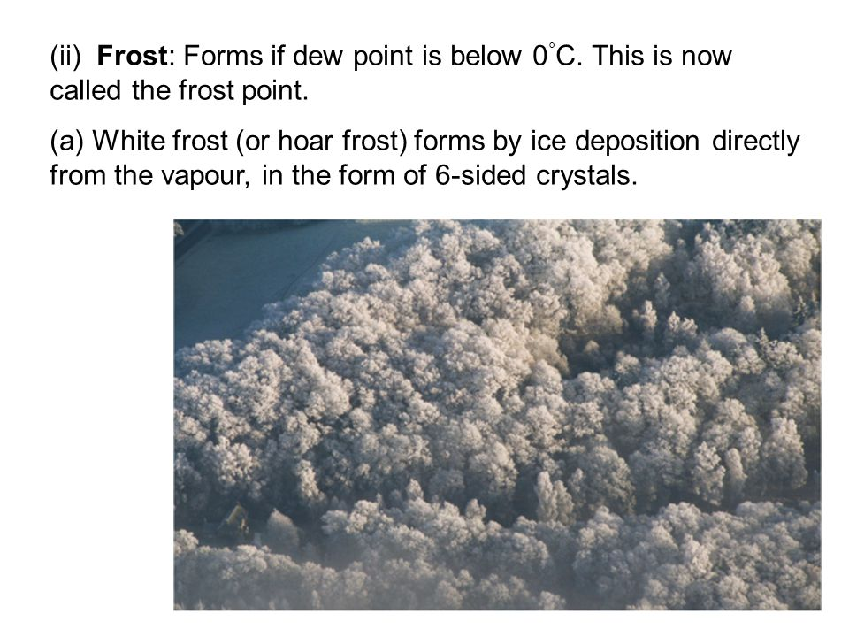 (ii) Frost: Forms if dew point is below 0 ° C. This is now called the frost point.