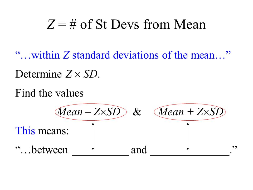 Z = # of St Devs from Mean …within Z standard deviations of the mean… Determine Z  SD.