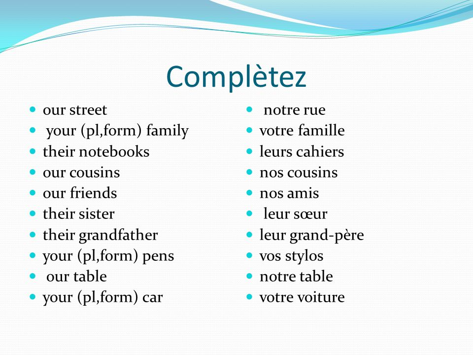 Complètez our street your (pl,form) family their notebooks our cousins our friends their sister their grandfather your (pl,form) pens our table your (pl,form) car notre rue votre famille leurs cahiers nos cousins nos amis leur sœur leur grand-père vos stylos notre table votre voiture