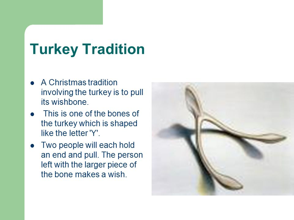 Turkey Tradition A Christmas tradition involving the turkey is to pull its wishbone.