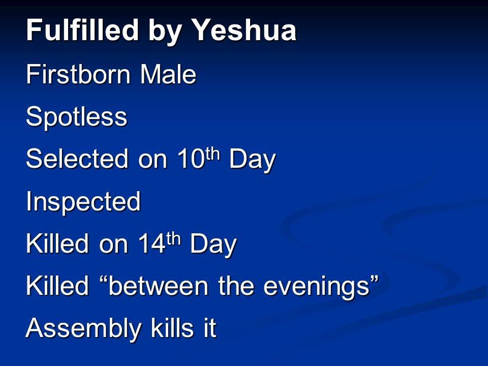 "Fulfilled by Yeshua Firstborn Male Spotless Selected on 10 th Day Inspected Killed on 14 th Day Killed ""between the evenings"" Assembly kills it"