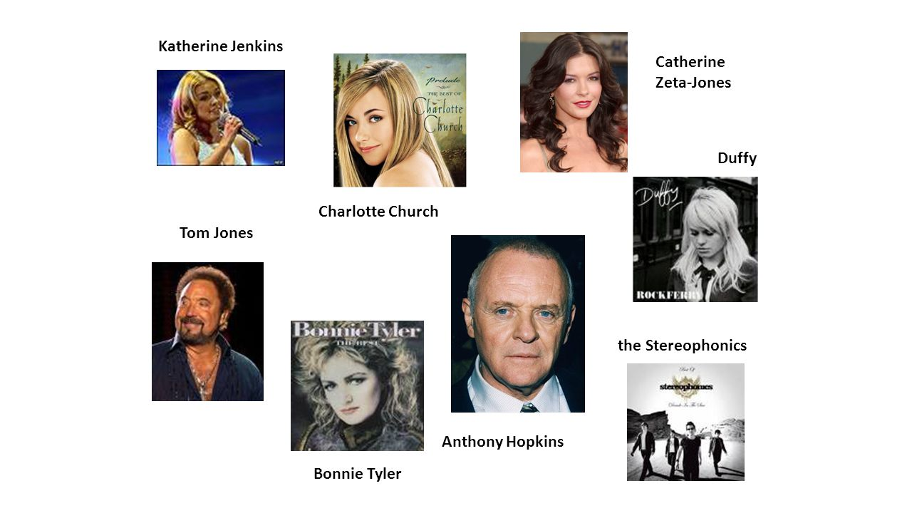 Tom Jones Charlotte Church Bonnie Tyler the Stereophonics Duffy Katherine Jenkins Anthony Hopkins Catherine Zeta-Jones