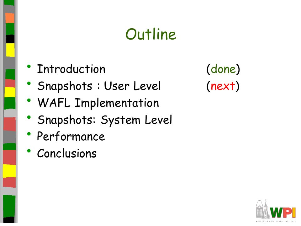 Outline Introduction(done) Snapshots : User Level(next) WAFL Implementation Snapshots: System Level Performance Conclusions