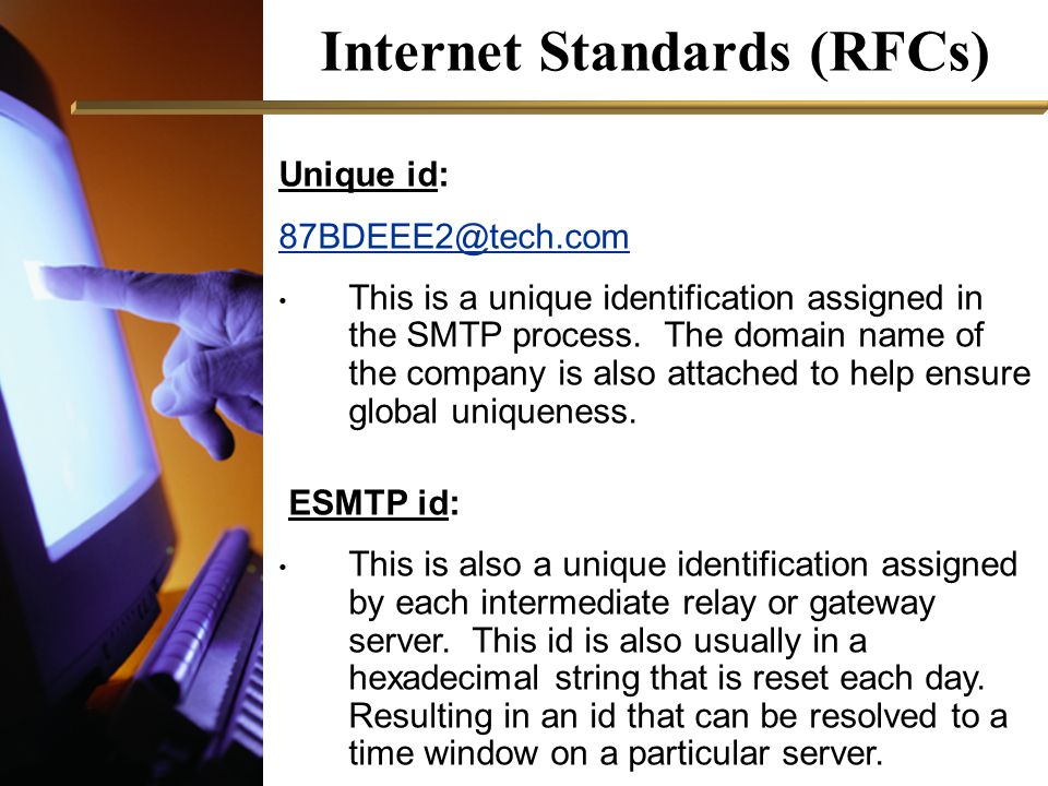 Internet Standards (RFCs) Unique id: 87BDEEE2@tech.com This is a unique identification assigned in the SMTP process.