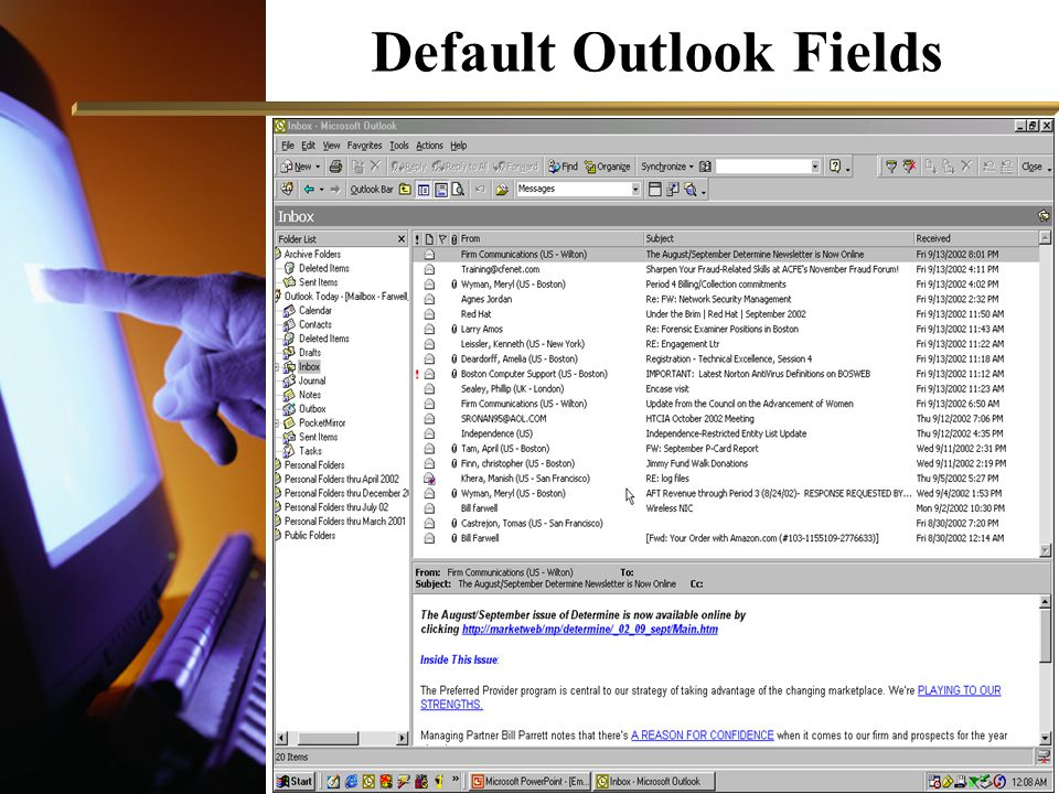 Default Outlook Fields