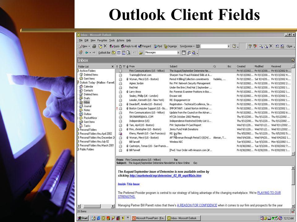 Outlook Client Fields