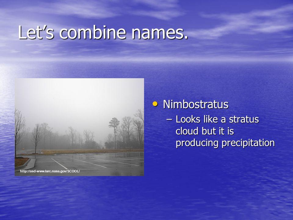 Nimbostratus Nimbostratus –Looks like a stratus cloud but it is producing precipitation Let's combine names.