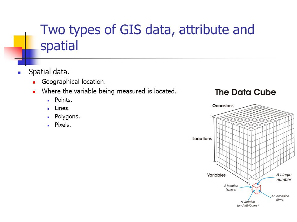 Two types of GIS data, attribute and spatial Spatial data.