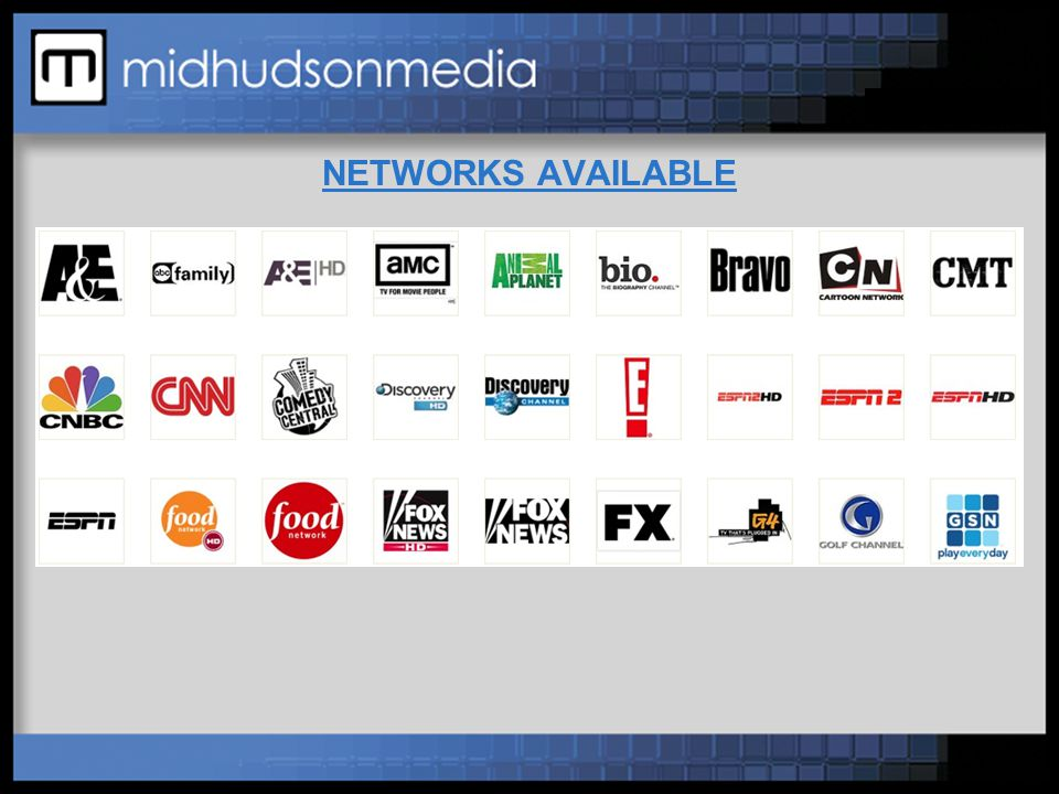 NETWORKS AVAILABLE (cont'd)