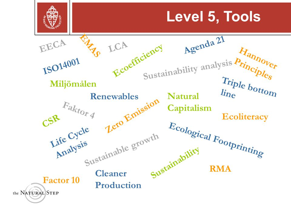 Copyright © 2004 The Natural Step ISO14001 Triple bottom line Sustainable growth Faktor 4 Cleaner Production Life Cycle Analysis Zero Emission Renewables RMA Ecological Footprinting Sustainability analysis Ecoliteracy Factor 10 Hannover Principles CSR Natural Capitalism Miljömålen EMAS EECA LCA Ecoefficiency Agenda 21 Sustainability Level 5, Tools
