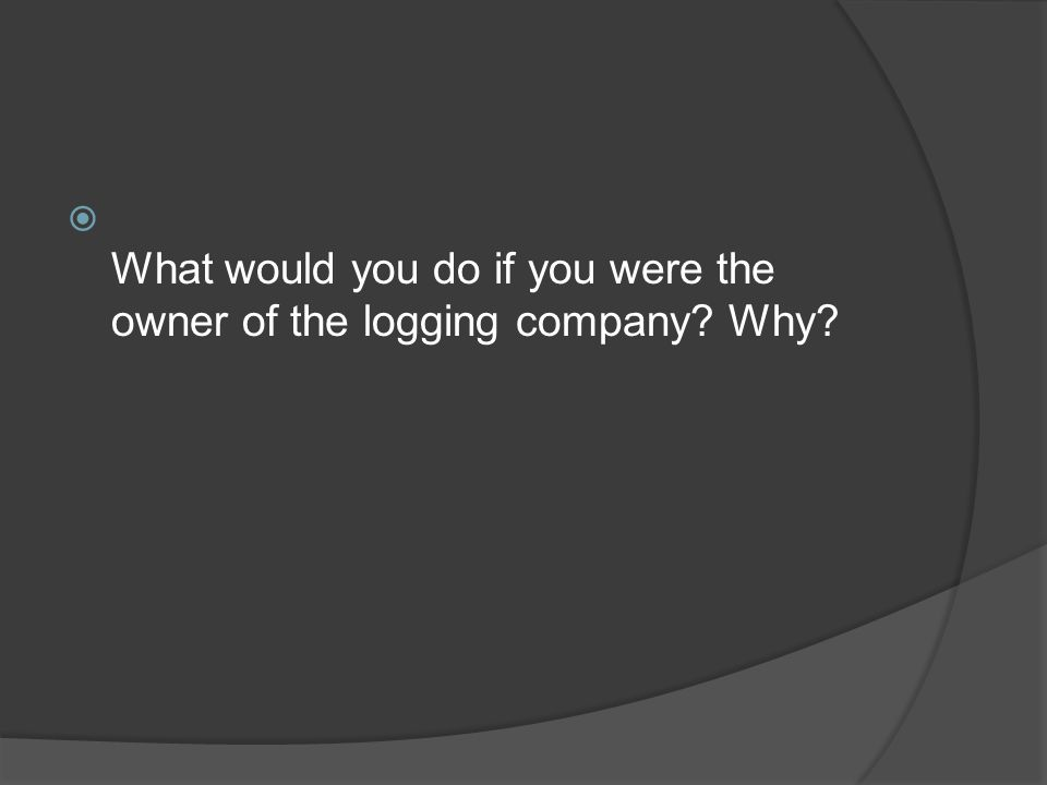  What would you do if you were the owner of the logging company? Why?
