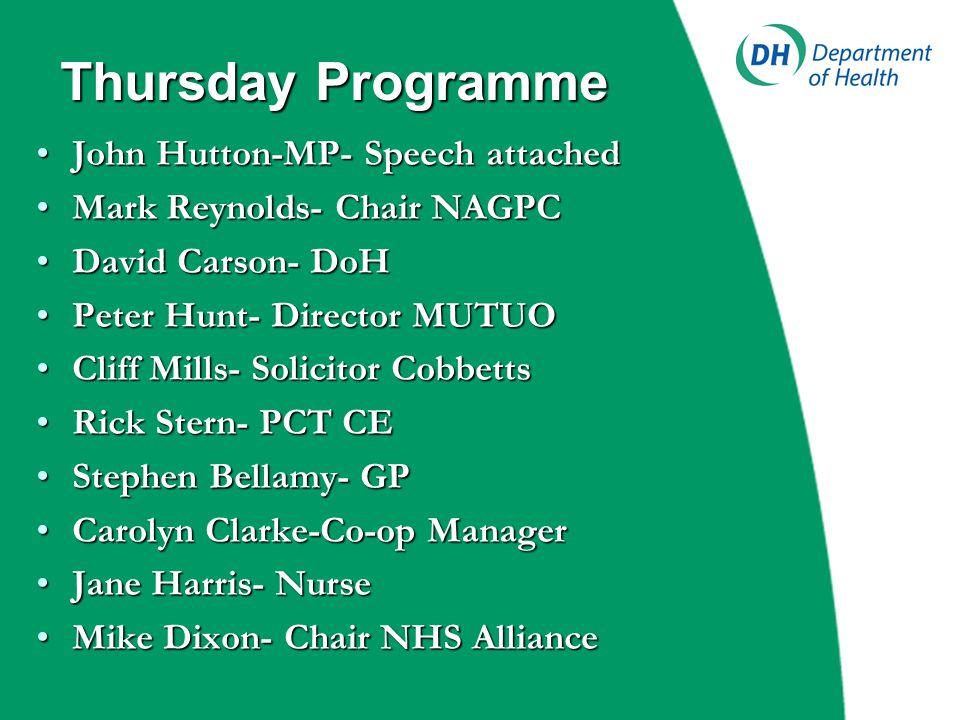 Thursday Programme John Hutton-MP- Speech attachedJohn Hutton-MP- Speech attached Mark Reynolds- Chair NAGPCMark Reynolds- Chair NAGPC David Carson- D