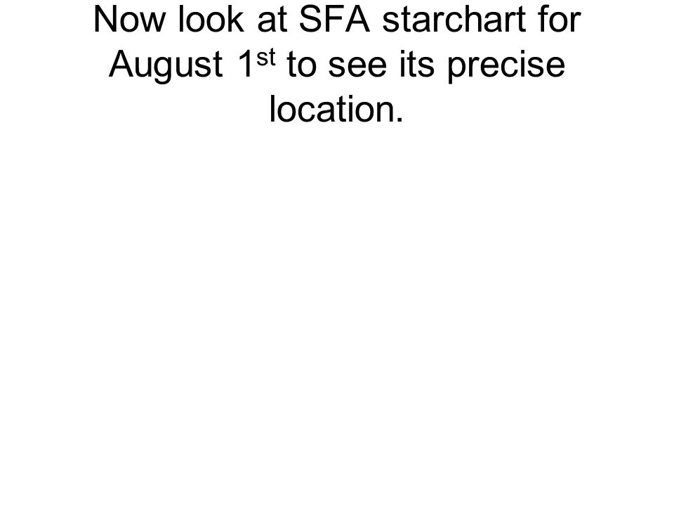 Now look at SFA starchart for August 1 st to see its precise location.