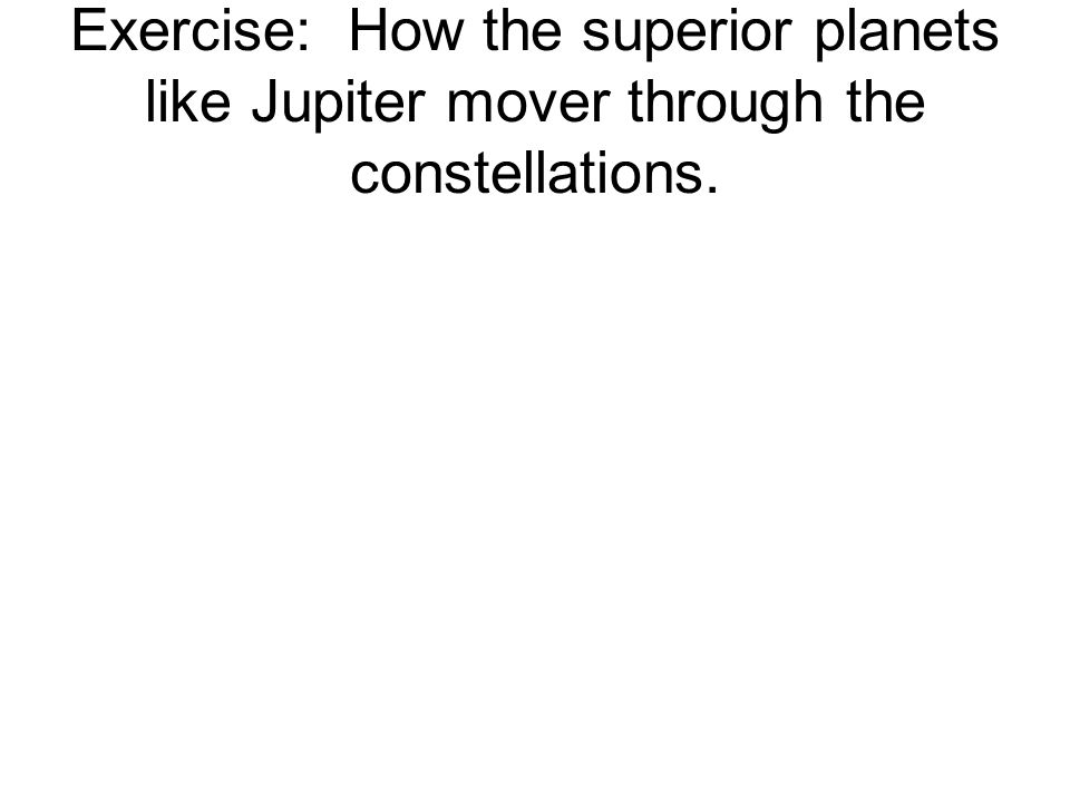 Exercise: How the superior planets like Jupiter mover through the constellations.