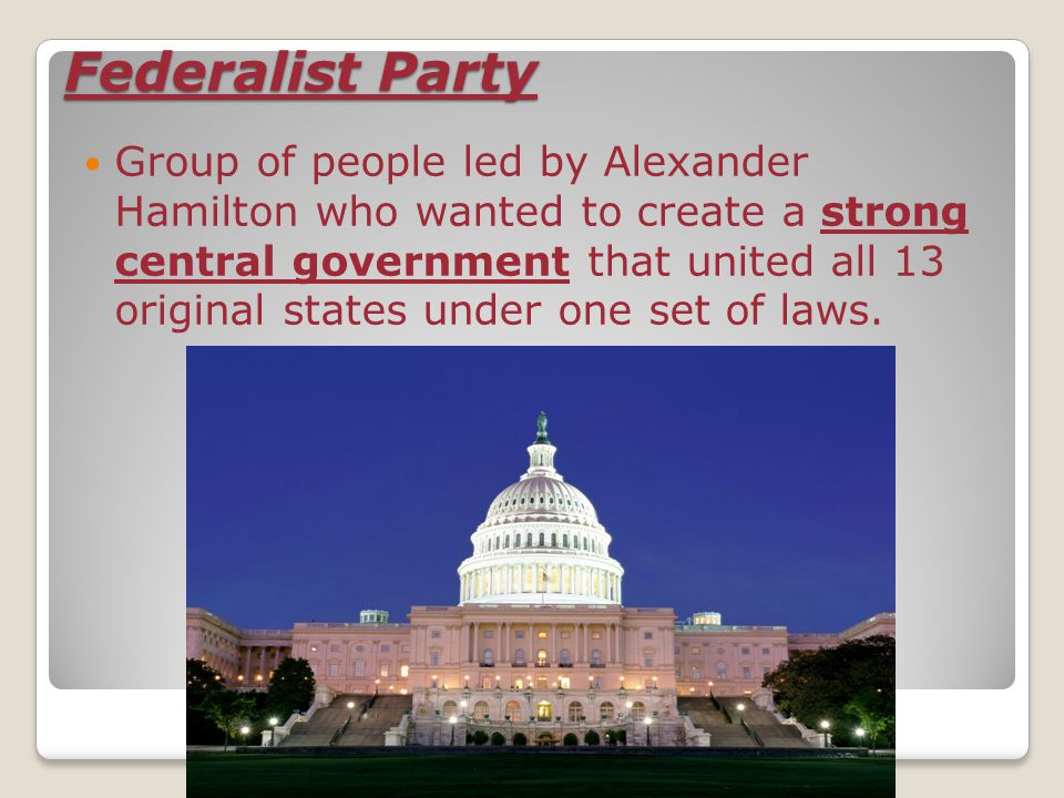 Democratic-Republican Party  Political party created by Thomas Jefferson in order to speak out against the Federalists who wanted to form a strong federal government.