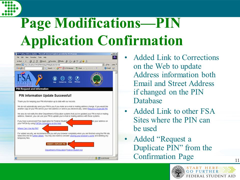 11 Page Modifications—PIN Application Confirmation Added Link to Corrections on the Web to update Address information both Email and Street Address if changed on the PIN Database Added Link to other FSA Sites where the PIN can be used Added Request a Duplicate PIN from the Confirmation Page