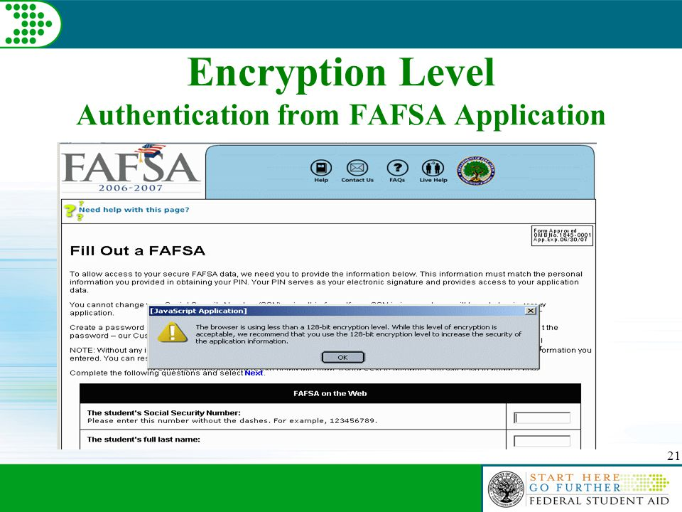 21 Encryption Level Authentication from FAFSA Application