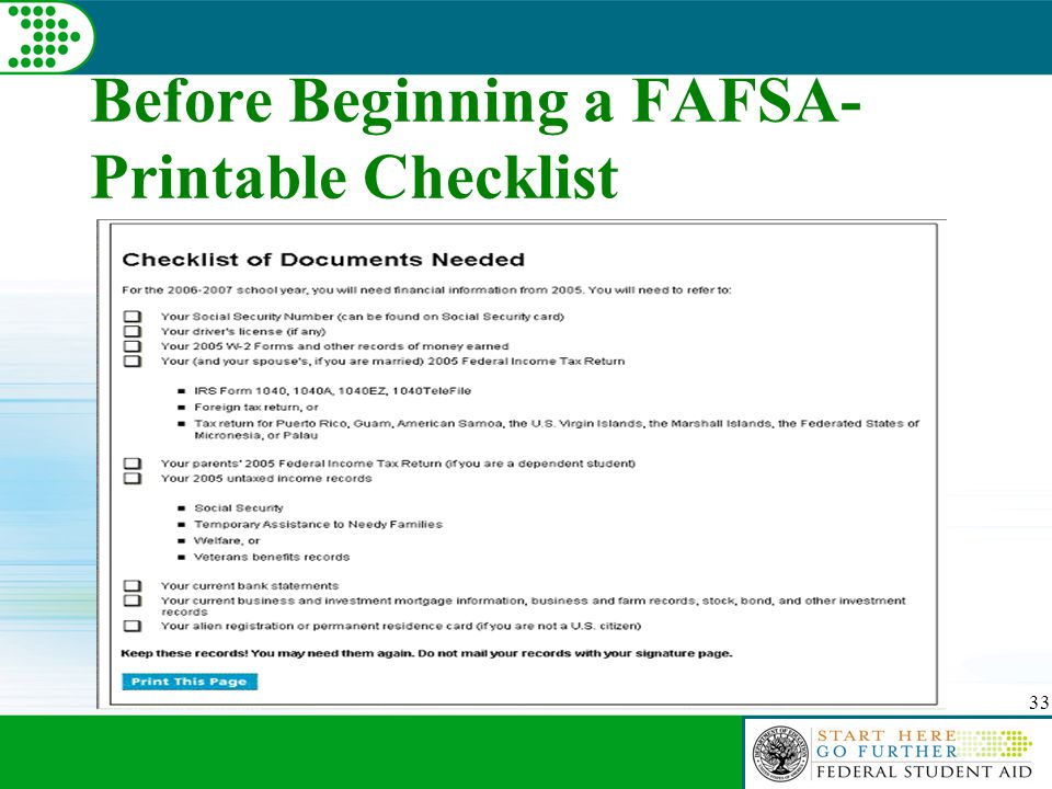 33 Before Beginning a FAFSA- Printable Checklist