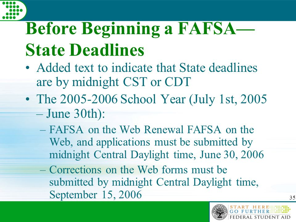 35 Before Beginning a FAFSA— State Deadlines Added text to indicate that State deadlines are by midnight CST or CDT The 2005-2006 School Year (July 1st, 2005 – June 30th): –FAFSA on the Web Renewal FAFSA on the Web, and applications must be submitted by midnight Central Daylight time, June 30, 2006 –Corrections on the Web forms must be submitted by midnight Central Daylight time, September 15, 2006