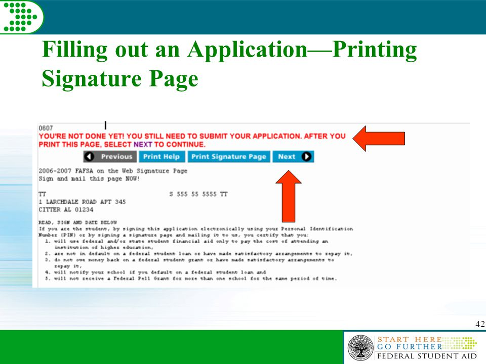 42 Filling out an Application—Printing Signature Page
