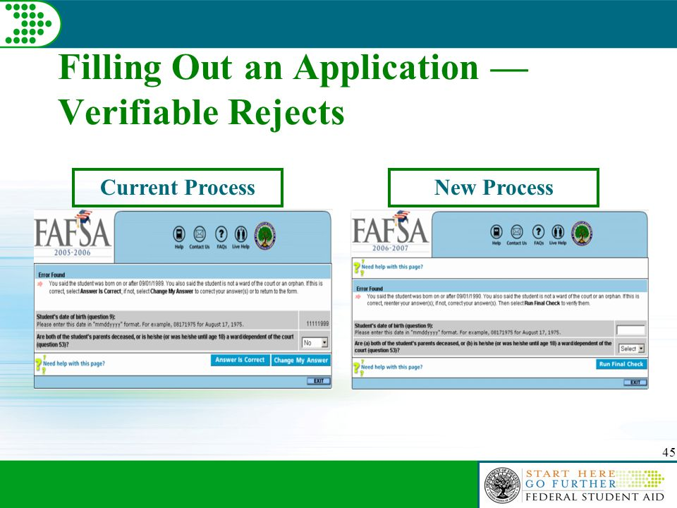 45 Filling Out an Application — Verifiable Rejects Current ProcessNew Process