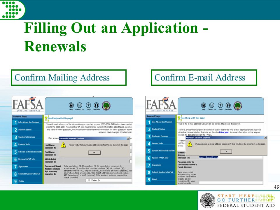 49 Filling Out an Application - Renewals Confirm Mailing AddressConfirm E-mail Address