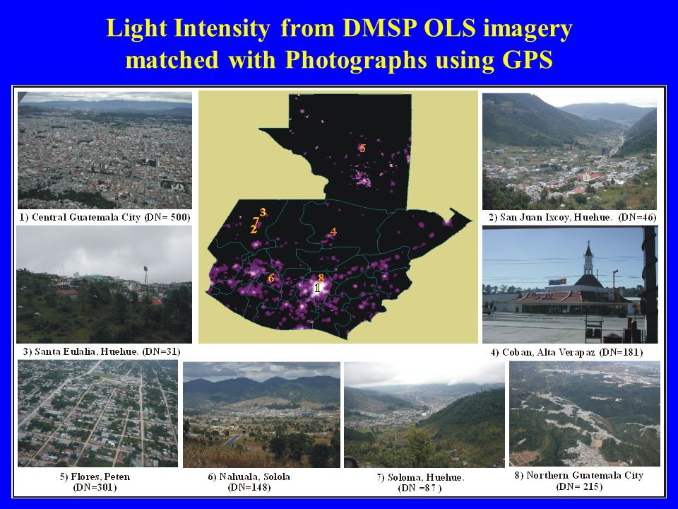 Light Intensity from DMSP OLS imagery matched with Photographs using GPS
