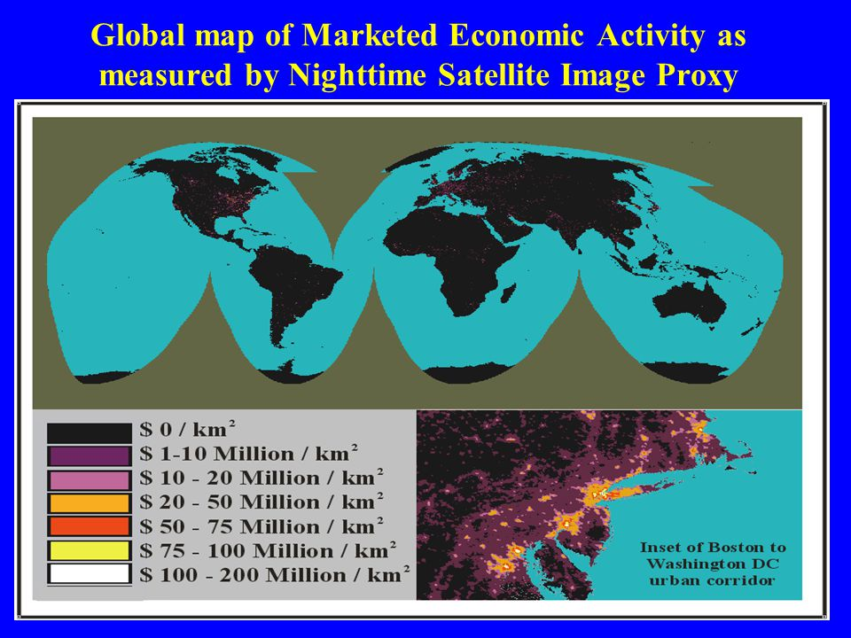 Global map of Marketed Economic Activity as measured by Nighttime Satellite Image Proxy