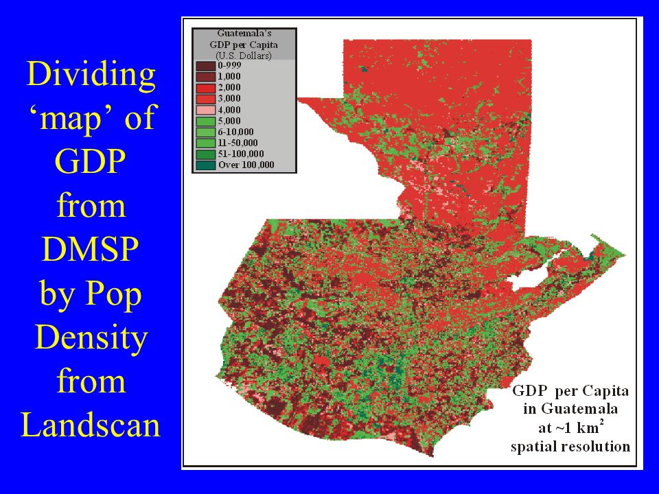 Dividing 'map' of GDP from DMSP by Pop Density from Landscan