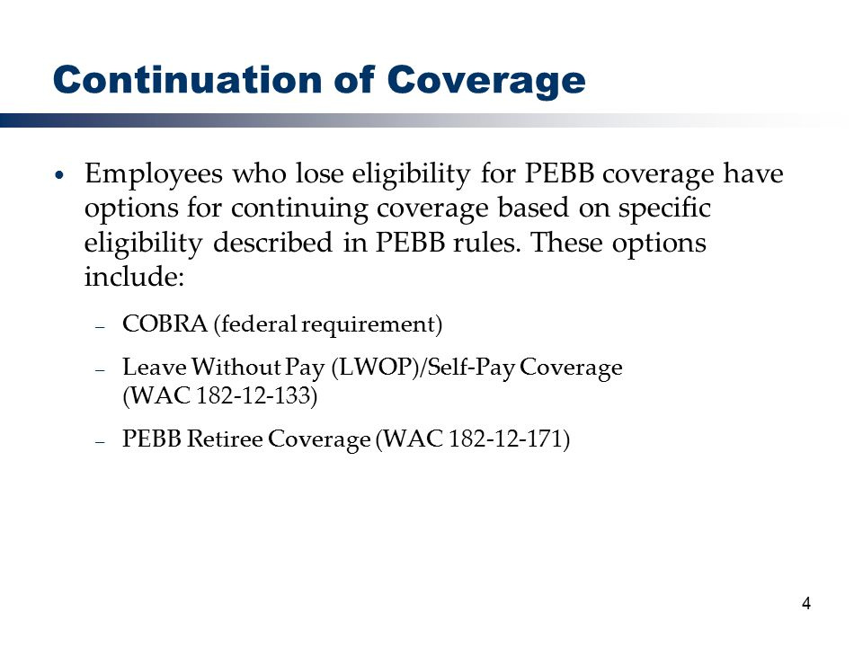 15 Subsidy Eligible Decision – HCA HCA will make the decision regarding eligibility for the subsidy based on: – Date of termination – Timeliness of application – Medicare eligibility – Agency determination of voluntary or involuntary termination – Eligibility for other group health coverage – Coverage individual was enrolled in as an employee Appeals for the COBRA Subsidy will be handled on a federal level, not by the PEBB appeals process – Appeal contact information is provided to anyone denied the subsidy