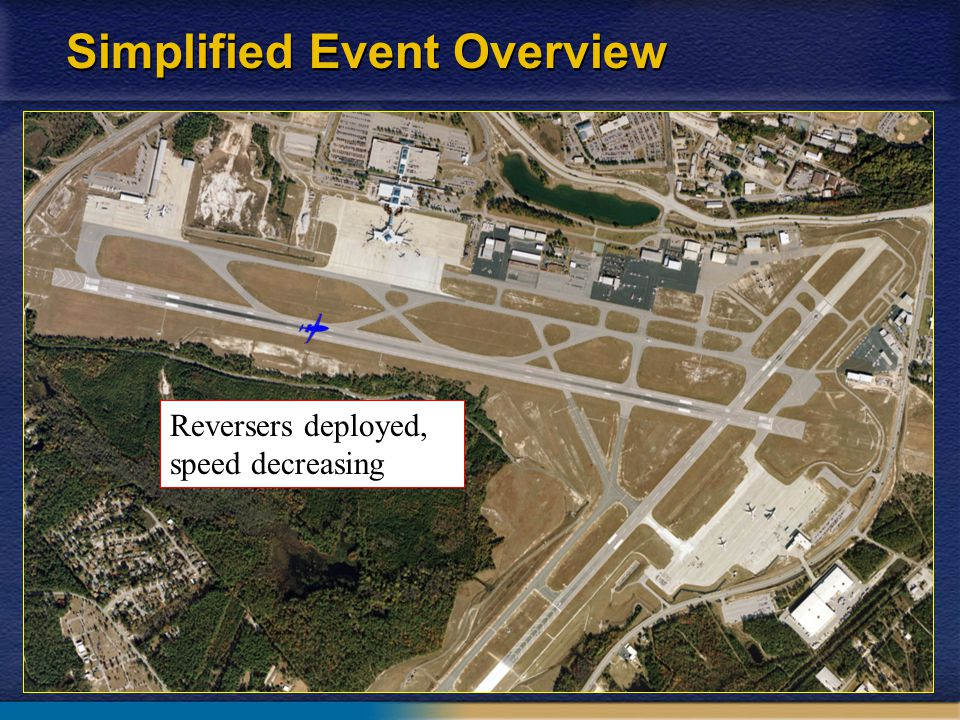 9 Simplified Event Overview Reversers stow High forward thrust Wreckage