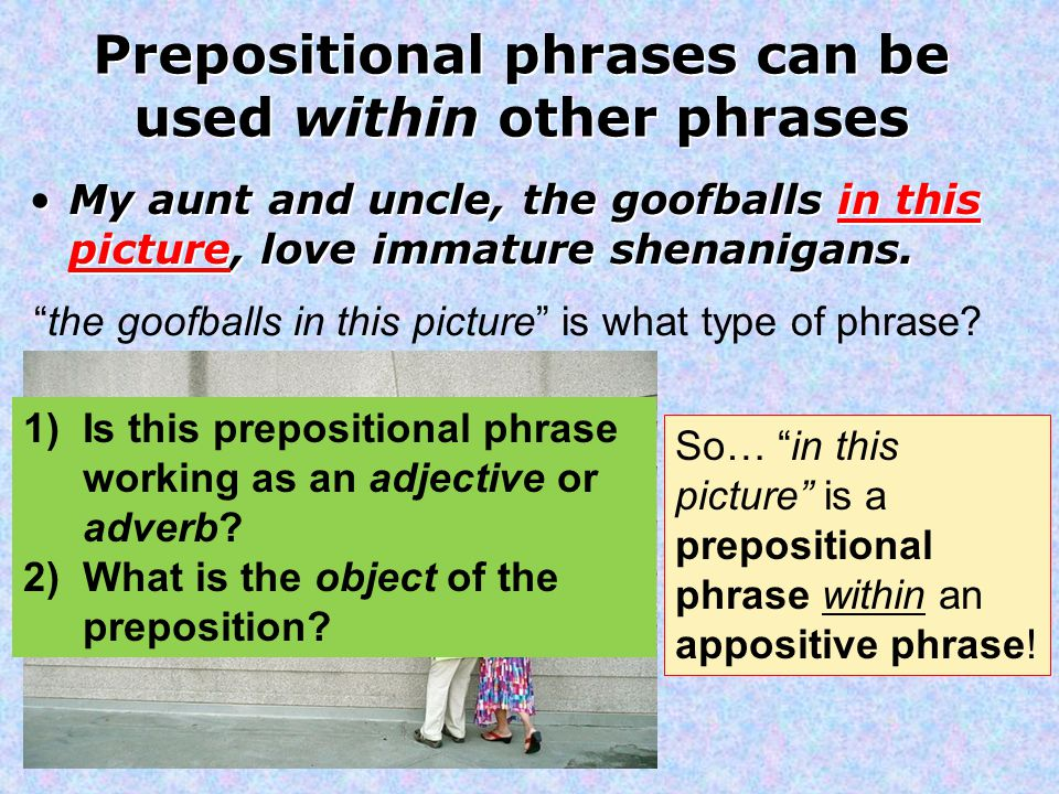 Prepositional phrases can be used within other phrases My aunt and uncle, the goofballs in this picture, love immature shenanigans.