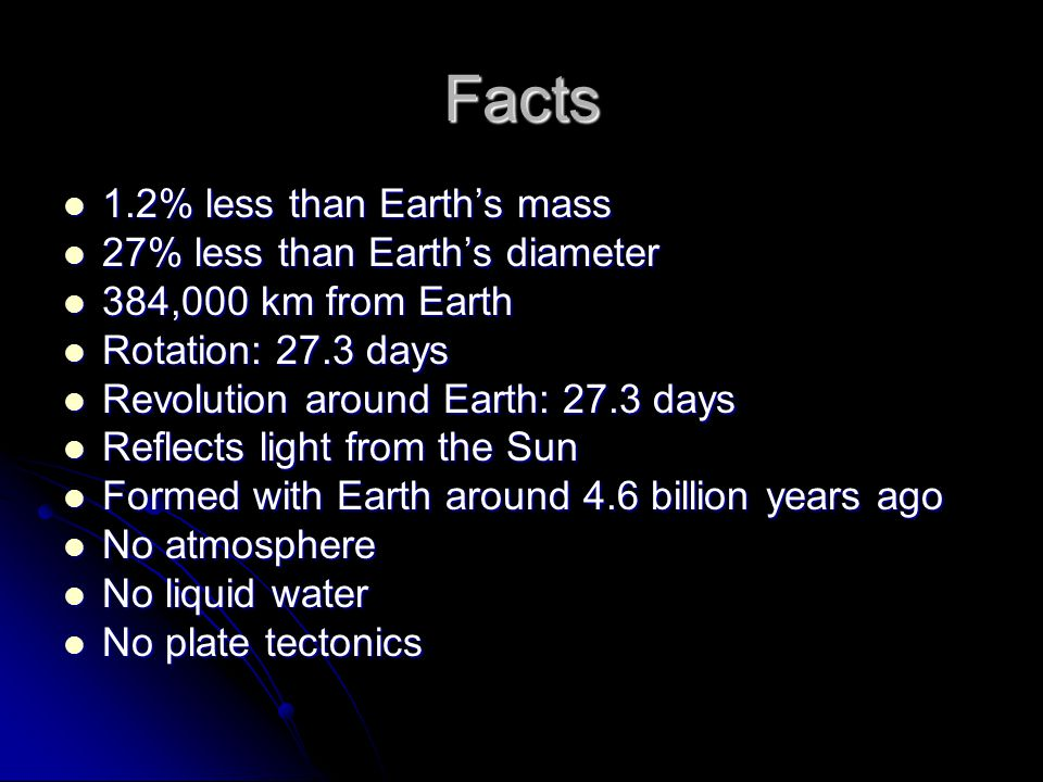 Facts 1.2% less than Earth's mass 1.2% less than Earth's mass 27% less than Earth's diameter 27% less than Earth's diameter 384,000 km from Earth 384,000 km from Earth Rotation: 27.3 days Rotation: 27.3 days Revolution around Earth: 27.3 days Revolution around Earth: 27.3 days Reflects light from the Sun Reflects light from the Sun Formed with Earth around 4.6 billion years ago Formed with Earth around 4.6 billion years ago No atmosphere No atmosphere No liquid water No liquid water No plate tectonics No plate tectonics