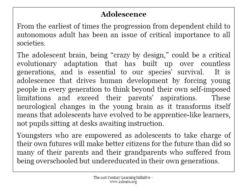 Adolescence From the earliest of times the progression from dependent child to autonomous adult has been an issue of critical importance to all societies.