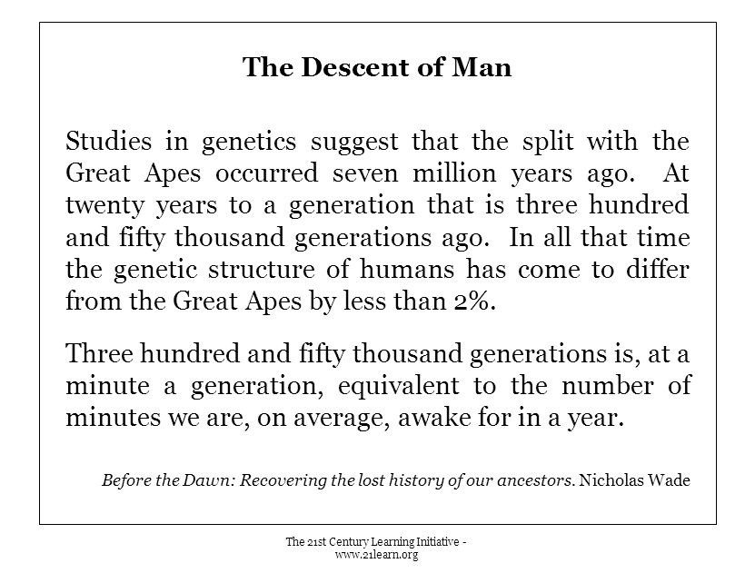 The Descent of Man Studies in genetics suggest that the split with the Great Apes occurred seven million years ago. At twenty years to a generation th