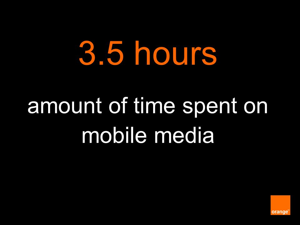 Orange Unrestricted amount of time spent on mobile media 3.5 hours