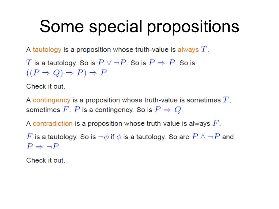 Some special propositions