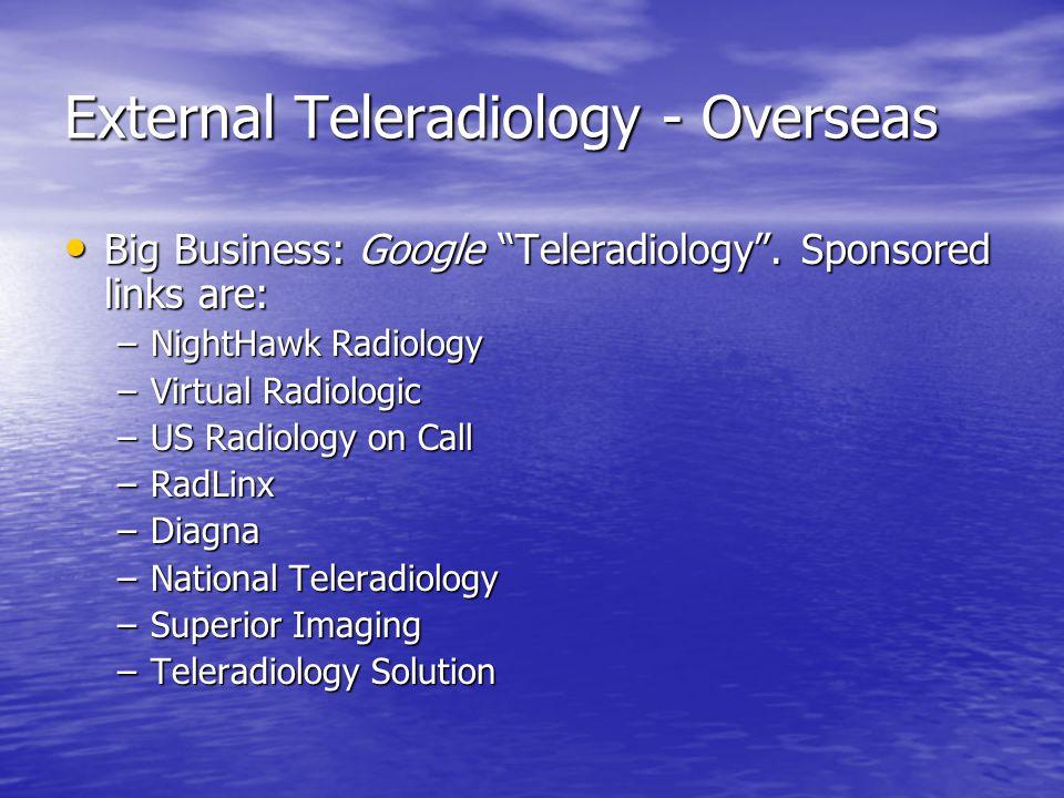 "External Teleradiology - Overseas Big Business: Google ""Teleradiology"". Sponsored links are: Big Business: Google ""Teleradiology"". Sponsored links are"