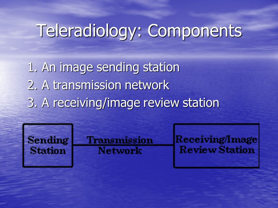 Teleradiology: Components 1. An image sending station 2. A transmission network 3. A receiving/image review station
