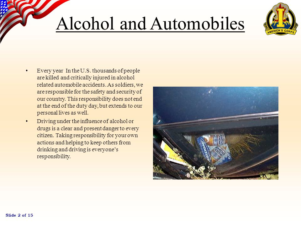 Slide 1 of 15 Alcohol and Automobiles…Don't Mix