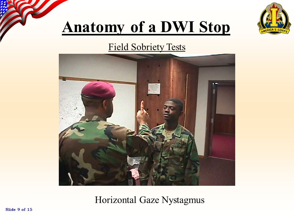 Slide 8 of 15 Anatomy of a DWI Stop Field Sobriety Tests One-leg Stand Walk and Turn