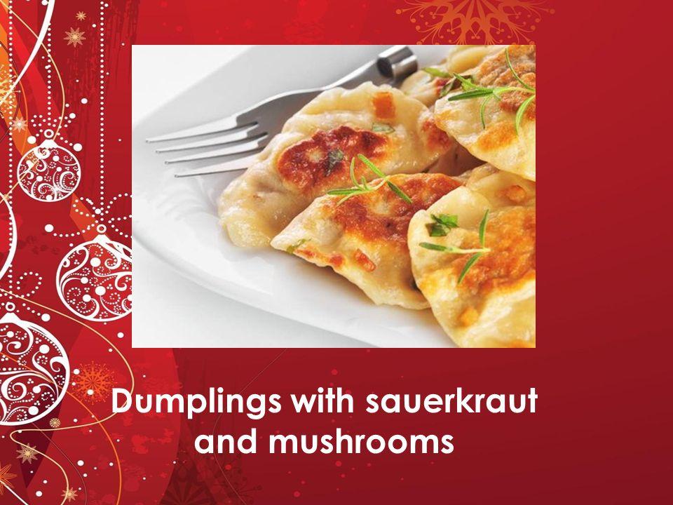 Dumplings with sauerkraut and mushrooms
