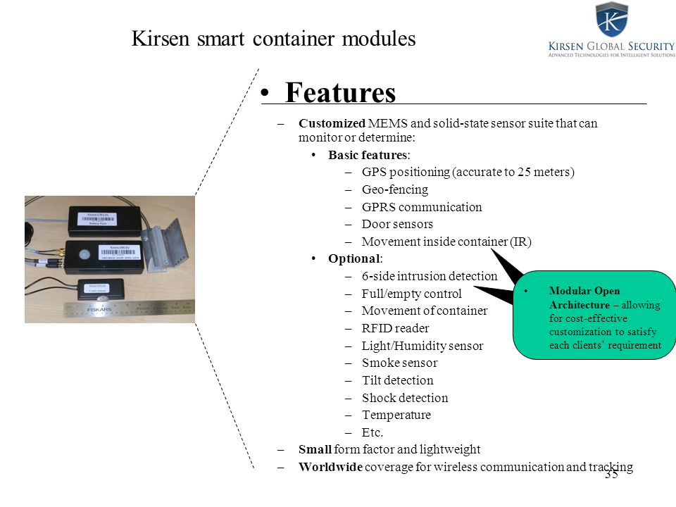 35 Kirsen smart container modules –Customized MEMS and solid-state sensor suite that can monitor or determine: Basic features: –GPS positioning (accurate to 25 meters) –Geo-fencing –GPRS communication –Door sensors –Movement inside container (IR) Optional: –6-side intrusion detection –Full/empty control –Movement of container –RFID reader –Light/Humidity sensor –Smoke sensor –Tilt detection –Shock detection –Temperature –Etc.