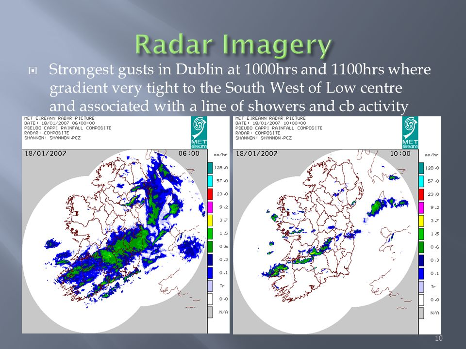  Strongest gusts in Dublin at 1000hrs and 1100hrs where gradient very tight to the South West of Low centre and associated with a line of showers and
