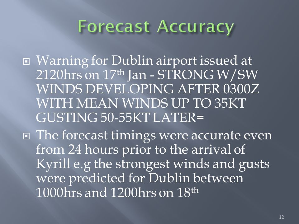 12  Warning for Dublin airport issued at 2120hrs on 17 th Jan - STRONG W/SW WINDS DEVELOPING AFTER 0300Z WITH MEAN WINDS UP TO 35KT GUSTING 50-55KT L