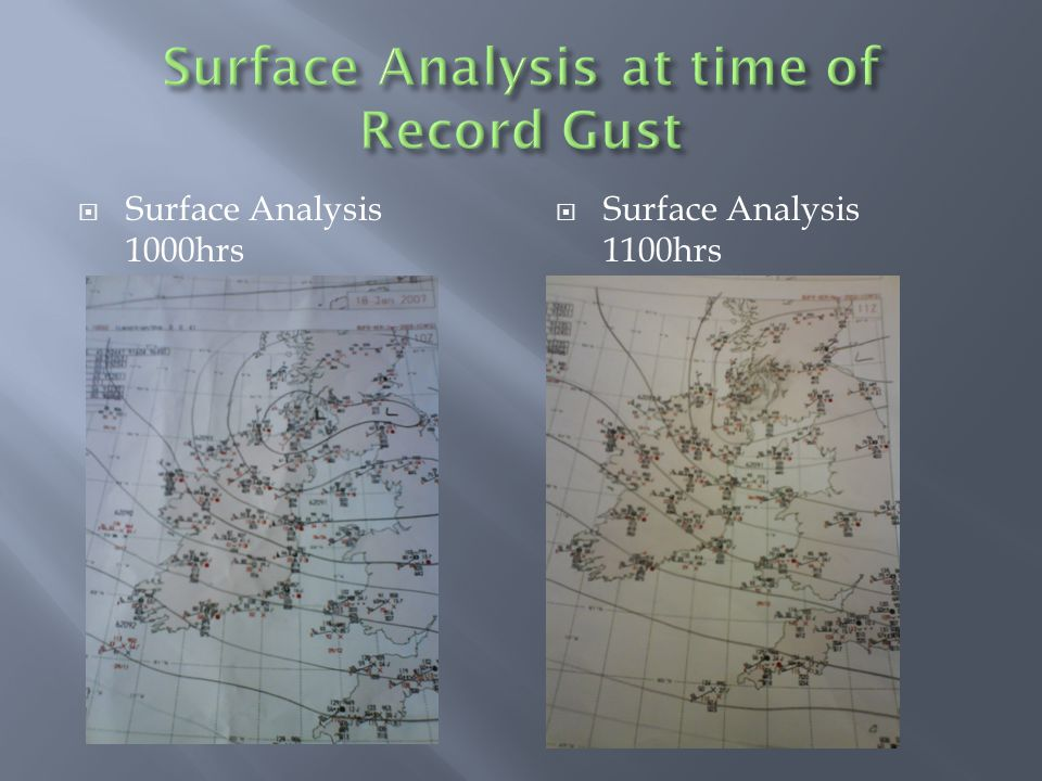  Surface Analysis 1000hrs  Surface Analysis 1100hrs